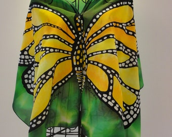 Hand painted pure silk scarf Emerald Butterfly-butterfly scarf-wings scarf