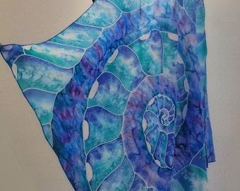 "Hand painted silk scarf ""Nautilus""- marine scarf , blue silk scarf, sea scarves, nautical scarf"