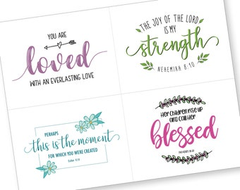 Printable Encouragement Card, Bible Verse Encouragement Card, Scripture Verse Memory, Inspirational Card for Her, Christian Verse Printable