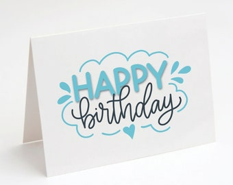 Happy Birthday Card, Hand lettered Birthday Card, Note Card, Blank Card, Printable Card, Turquoise Birthday Card, Fun Birthday Card