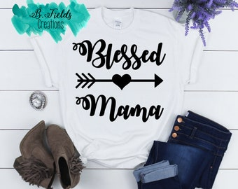 Blessed Mama shirt/ Personalized Mom Shirt/ Gift for Mom/ Mothers Day Gift/ Mothers Day Shirt/ Gift for her/ Southern Mama Shirt