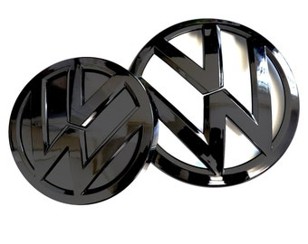 Gloss Black Front & Rear Emblems for VW Golf MK7 MK7.5 MK6 R GTI GTD