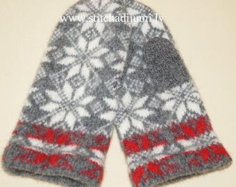 Felted mitten handmade traditional knit wool mittens handmade traditional Latvian knit wool mittens