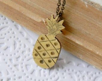 Miniature Pineapple jewelry Pineapple necklace Pineapple pendant Pineapple charm Pineapple wedding Minimal Dainty necklace Yellow jewelry