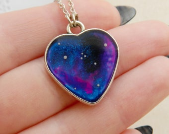 Celestial Wanderlust Handpainted Heart Pendant Galaxy pendant Universe charm Heart Necklace Heart Jewelry Sister gift Lover gift Heart gift