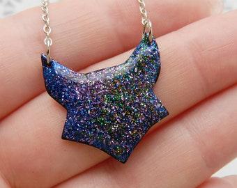 Fox necklace Celestial Fox jewelry Miniature Wildlife jewelry Wanderlust gift Fox gift Black Fox Astronomical gift Star jewelry Sky jewelry