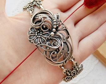 Vintage jewelry Bohemian bracelet Sterling silver bracelet Flower bracelet Bohemian jewelry Boho jewelry filigree jewelry Best Wife gift mom