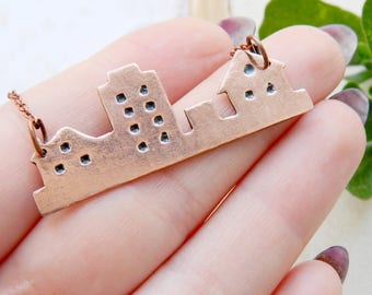 Wanderlust Outdoors gift Travel gift City jewelry City necklace Home jewelry Home necklace House necklace House pendant Copper pendant