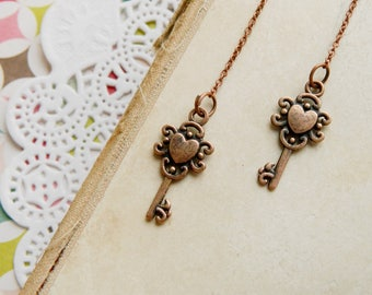 Clothing gift Key jewelry Key earrings Skeleton key jewelry Copper Earrings Copper jewelry Rustic earrings Christmas gift Toddler christmas