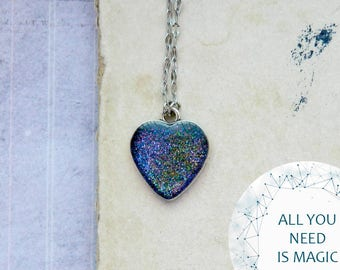 Celestial miniature Fairytale gift Heart Pendant Heart Necklace Galaxy necklace Blue Galaxy jewelry astronomy gift for birthday Love