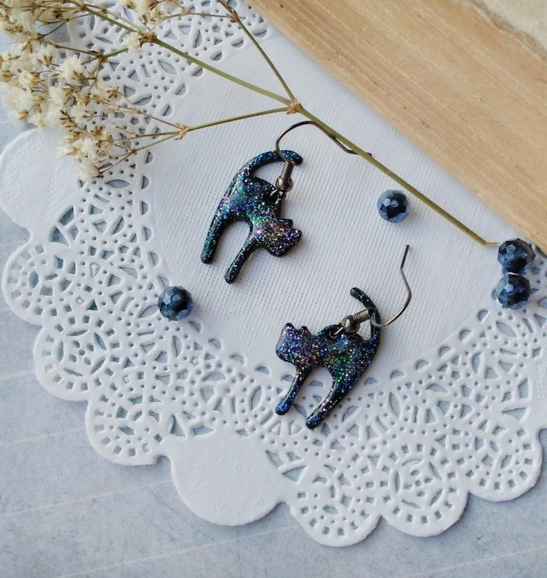 Celestial Animal Cat Earrings Cat jewelry Dark Blue earrings image 0