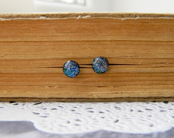 Blue  Earrings Tiny Sparkly Stud Earrings Small Studs Earstuds Small Earrings Gift for her universe earrings  Best Friend gift sister  post