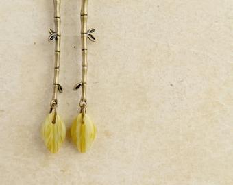 Bamboo earrings. Bamboo leaf. Green bamboo earrings. With leaf. Pink bamboo earrings. Bronze bamboo. Long earrings.