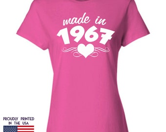 50th Birthday Gift For Women Made In 1967 T Shirt Ladies Heart Design A Makes An Ideal Womans