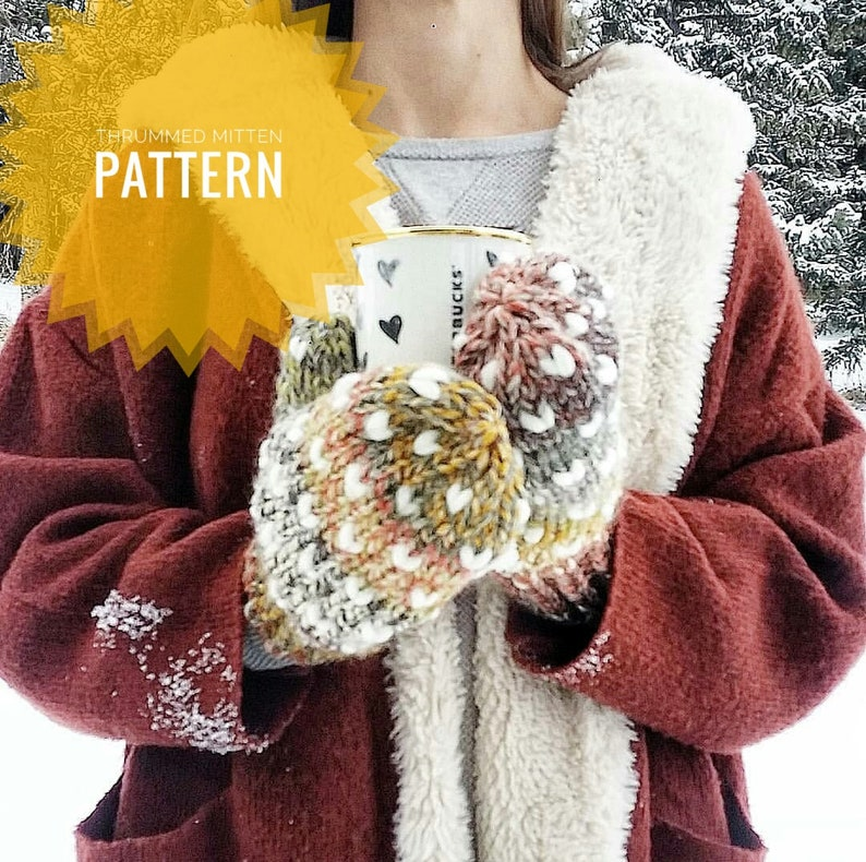 Thrummed Mitten Knitting Pattern // Chunky Knit Mitten Pattern image 0