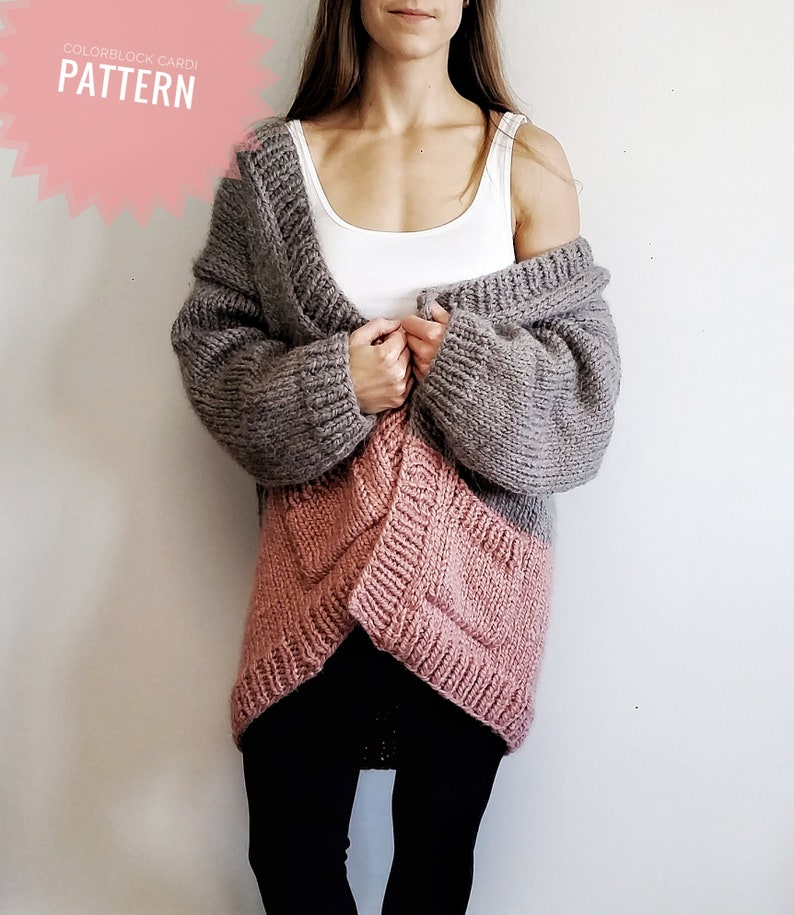 Colorblock Cardi Chunky Knit Cardigan Easy Knitting Etsy