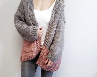 Colorblock Cardi // Chunky Knit Cardigan // Easy Knitting Pattern // Oversized Knit Cardigan // Knit Cardigan Pattern