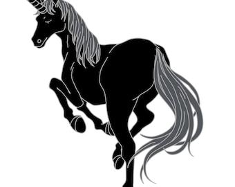 Black unicorn hard Enamel pin 50 mm