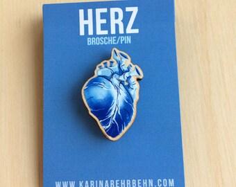 Heart blue brooch / pin