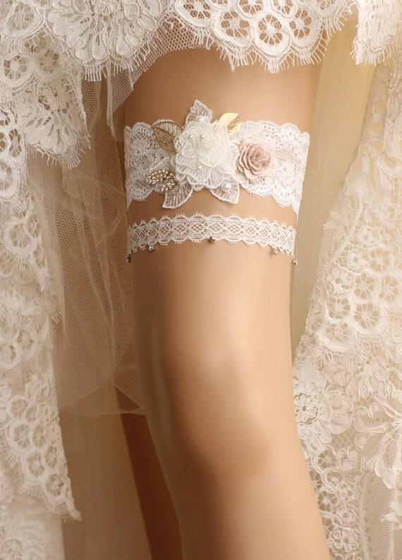 Ivory stretch lace Bridal Garter ivory rhinestone and Crystal garters Bridal Garter set Garter Wedding garter set