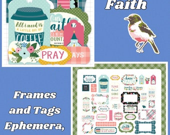 Just Released, Have Faith, Religious, Bible Journaling , Ephemera by Echo Park, Cardstock Frames and Tags