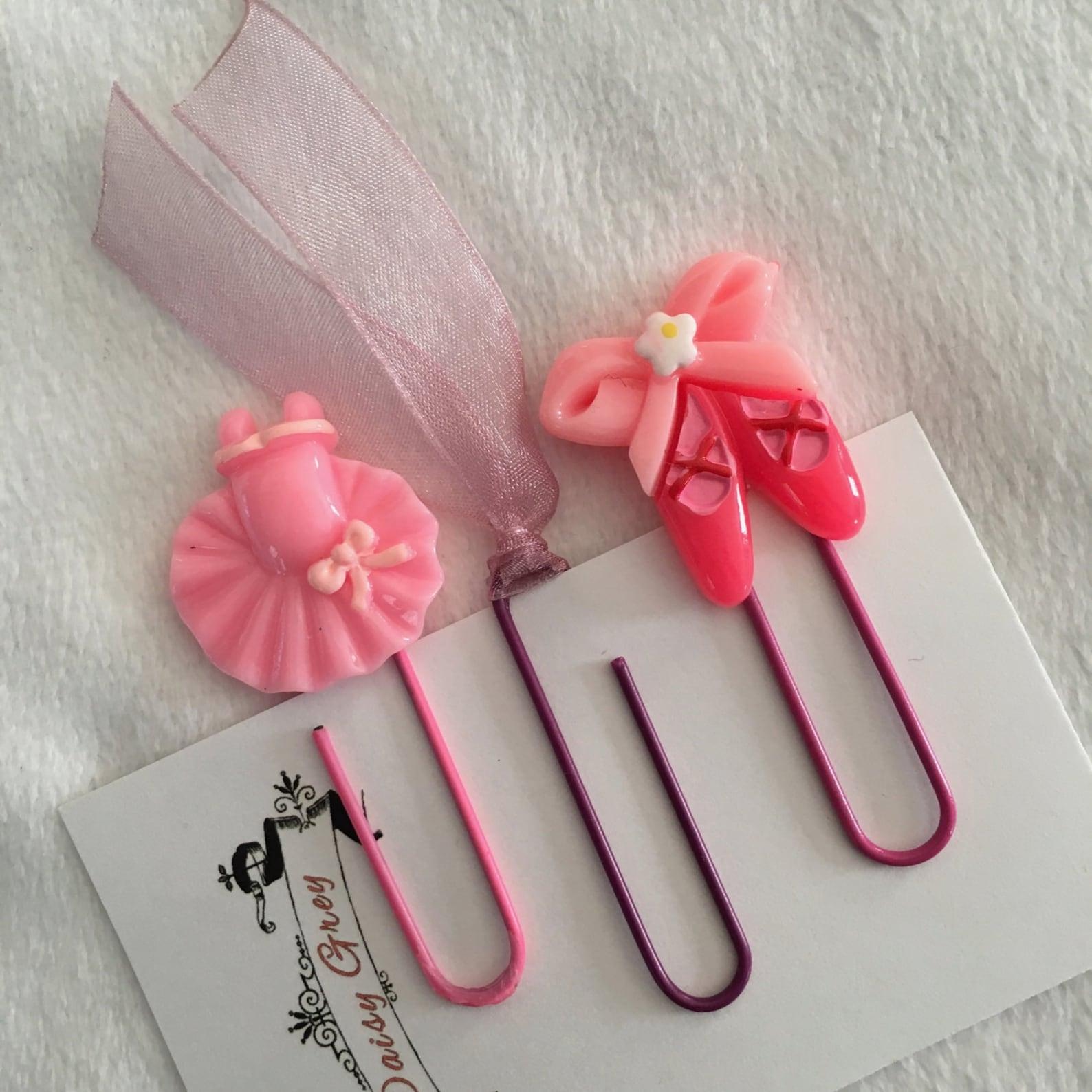 pink ballarina, ballet shoes, ribbon paper clips, bookmarks