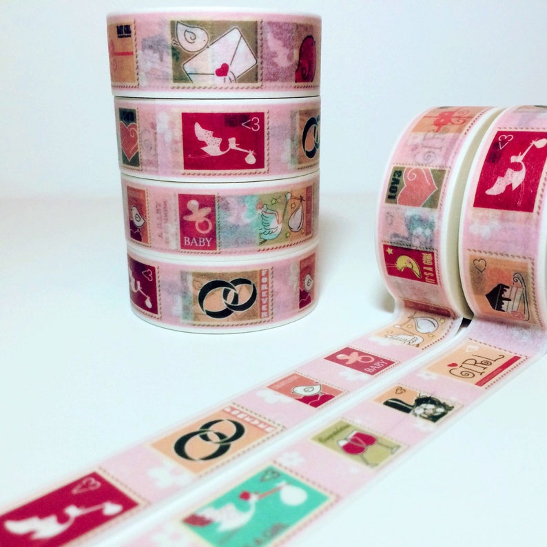 Anniversary and Tape Sample Lengths Its A Girl Wedding Celebration Stamps