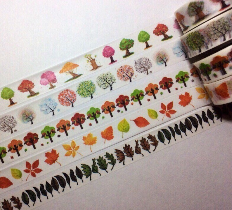 Autumn Trees and Leaves Washi Tape Sample Lengths image 0