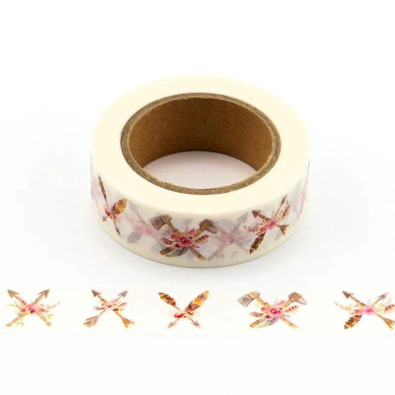 Washi Tape Natural Floral Crossed Arrows Sample Lengths Hatchets with Feathers