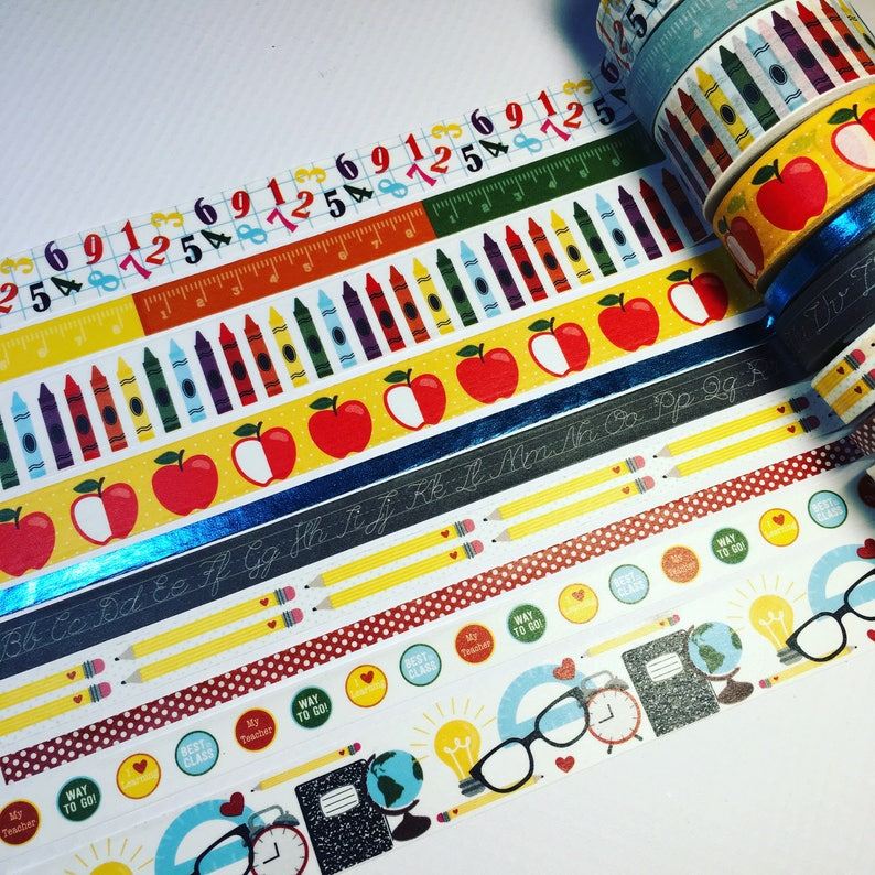 Back To School Recollection Washi Tape Blue Foil Sample image 0