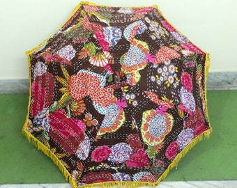 Christmas gift , new year gift unique umbrella ,Kantha work umbrella  cotton fabric  with unique patchwork   ,christmas lawn decoration ,