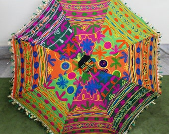 Handmade unique    Umbrella  with embroidery work ,decorative cotton parasol ,hand stitcher work  big parasol  fast  delivery