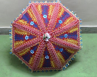 Handmade unique    Umbrella  with embroidery work ,decorative cotton parasol ,hand stitcher work  ,
