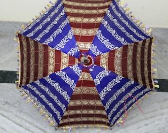 Handmade sari  fabric  umbrella with embroidery work  ,decorative  parasol ,hand stitched  work sun umbrella unique umbrella