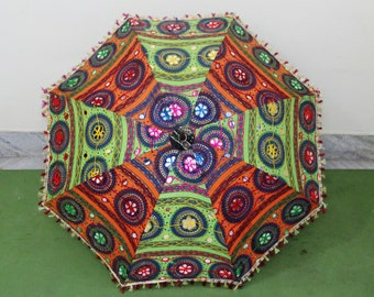 Handmade unique    Umbrella  with embroidery and mirror work ,decorative cotton parasol ,hand stitcher work  big parasol  fast  delivery