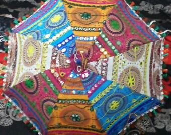 Handwork umbrella with Thread Embroidery,  Patch Work indian parasol ,decorative cotton sun umbrella ,mirror work ,wedding umbrella,gorgious