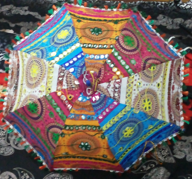 Handwork umbrella with Thread Embroidery  Patch Work indian image 0