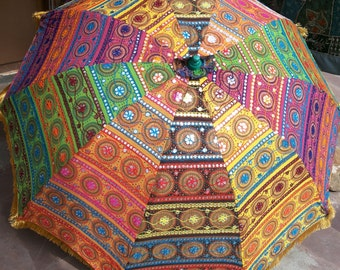 Beach umbrella etsy garden umbrella big size beach umbrella with colourful embroidery diameter size 6 ft72 junglespirit Image collections