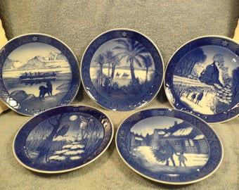 Royal Copenhagen Christmas Plates Lot Of 5  1968, 72, 73, 74, 80