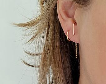 Winter Women Christmas Knitted Hat Dangle Ball Ear Hook Ear Drop Earrings KS