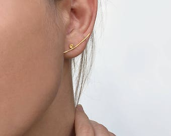 Mismatched earrings, mix and match earrings, asymmetrical earrings, gold climber earrings, minimalist earrings, silver mismatched studs