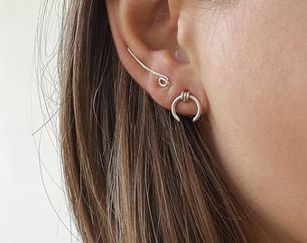 Tiny silver studs, tiny stud earrings, 925 Sterling silver earrings, small horn earrings, small earrings, boho jewelry, everyday earrings