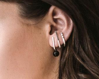 Silver bar earrings, suspender earrings, modern earrings, silver and black earrings, ear suspender, unique silver earrings, single earring