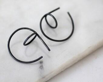 Silver hoop earrings, oxidized silver earrings, geometric earrings, oxidized hoop earrings, modern geometric earrings, Christmas gift