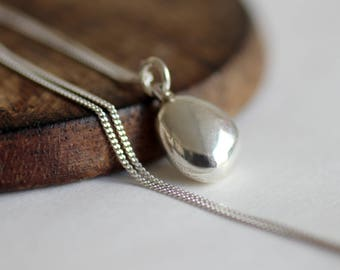 Silver pendant necklace, silver drop necklace, silver nugget necklace, dainty necklace pendant, necklace gift, perfect gift for her