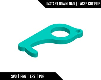 Door handle button pusher personal protection device key chain - Digital Download - Laser Cut File