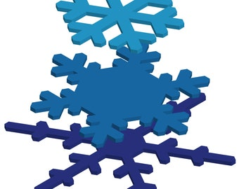 3 Layer Tiered Snowflakes for Door wreaths or hangers - Digital Download - Laser Cut File