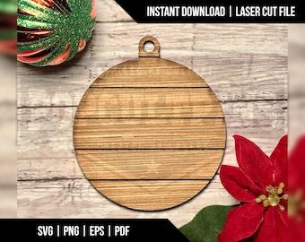Shiplap Sign Style Christmas Ornament - Digital Download - Laser Cut File