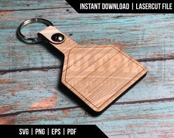 Cow Ear Tag keychain livestock key fob - digital download - glowforge laser cutter file - svg, png, eps, pdf