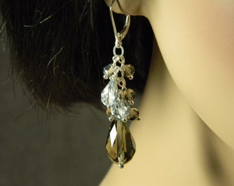 Sterling Silver Faceted & Mirrored Glass Cluster Earrings